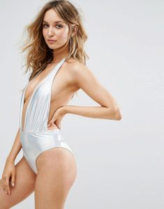 Prettylittlething Holographic Plunge Swimsuit - Silver