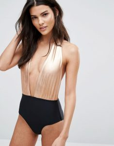 Printed Contrast Plunge Swimsuit - Copper
