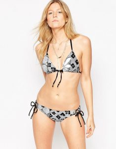 Printed Triangle Bikini Set - Black