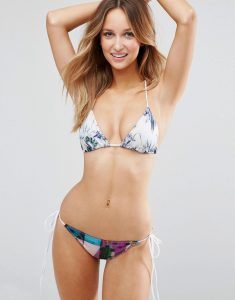 Printed Triangle Bikini Set - Multi
