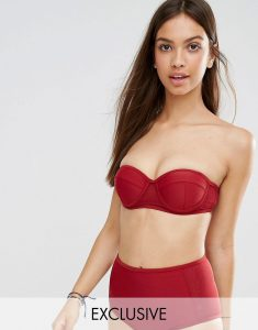 Red Boost Bandeau Bikini Top - Red