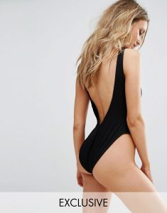 Ribbed Low Back Swimsuit - Black