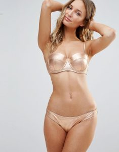 Rose Gold Metallic Bikini Set - Copper