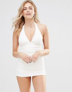 Ruched Halter Swimsuit - White