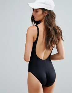 scoop back swimsuit - Black