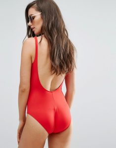 Scoop Back Swimsuit - Red