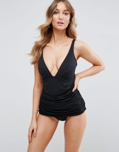 'Sculpt Me' Control Gathered Waist Supportive Swimsuit - Black