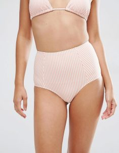 Seersucker Stripe High Waist Bikini Bottom - Multi