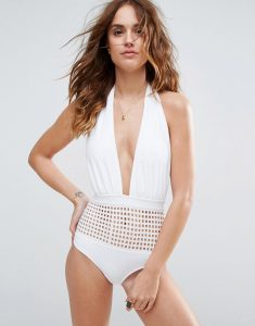 Square Cut Out Plunge Halter Swimsuit - White