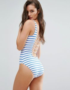 Stripe Strappy Back Swimsuit - White