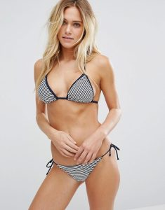 Stripe Triangle Bikini Set - White