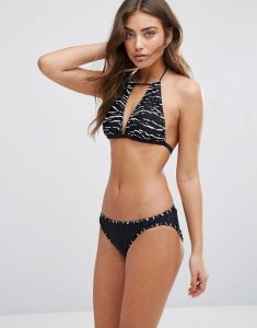 Tapir Wave Print Halter Bikini Set - Black