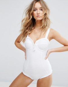 Textured Frill Swimsuit - White