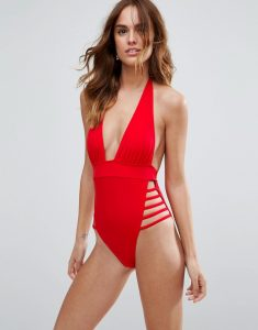 Ultra Strappy High Leg Cut Out Plunge Swimsuit - Red