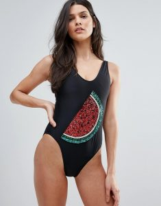 Watermelon Embellished Swimsuit - Black