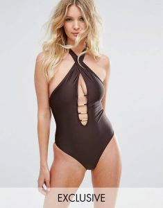 B-F Cup Plunge Halter Swimsuit - Brown