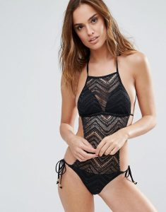 Chevron Lace High Neck Swimsuit With Tie Side Detail - Black