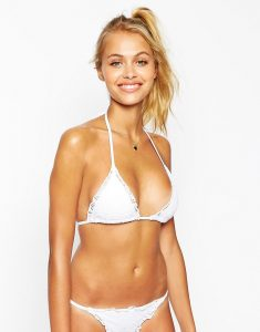 Crochet Lace Triangle Bikini Top - White