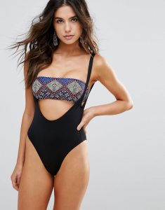 Geo Print Cut Out Bandeau Swimsuit - Black