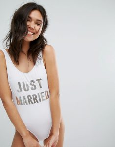 Just Married High Leg Swimsuit - White