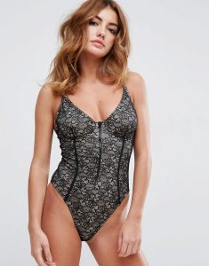 Lace Cupped Zip Through High Leg Swimsuit - Black