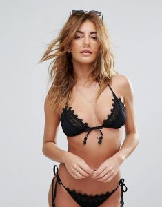 Laced Slide Triangle Bikini Top - Black