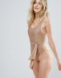 Matte Satin Shine Bow Belted Swimsuit DD-G - Gold