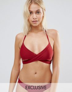 Mix And Match Red X Front Bikini Top - Red