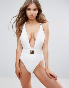 Plunge Swimsuit B-F Cup - White
