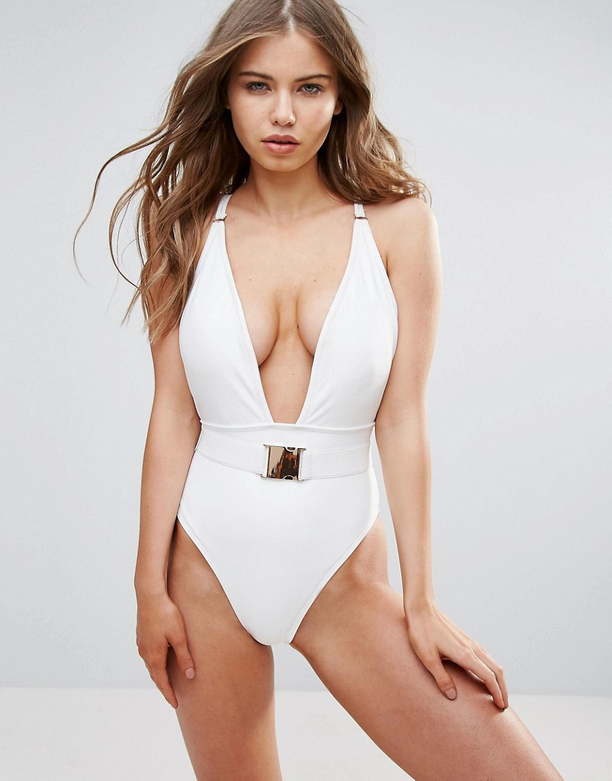 Wolf & Whistle - Plunge Swimsuit B-F Cup - White