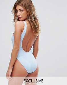Ribbed Low Back Swimsuit - Blue