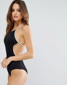 Ribbed Swimsuit - Black