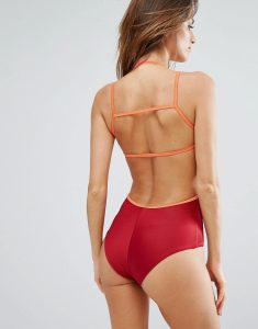 Ribbed Swimsuit - Red