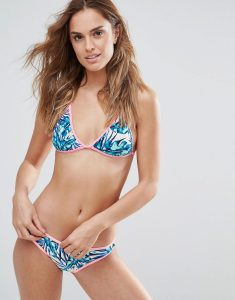 Tropical Floral Triangle Bikini Set With Neon Shell Pink Trim - Blue