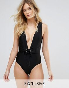 Waspie Swimsuit D-F Cup - Black