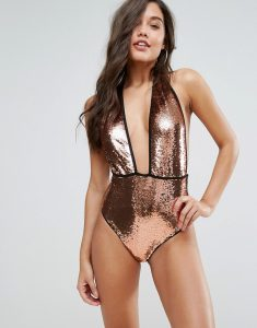 Bronze Sequin Swimsuit - Brown