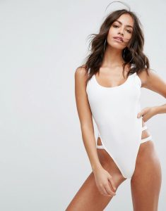 Cut Out Side Detail Swimsuit - White