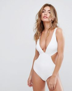 Cut Out Swimsuit - White