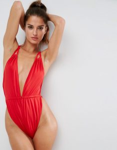 Glam High Leg Gathered Strappy Plunge Swimsuit - Red