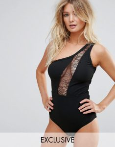 Lace Insert One Shoulder Swimsuit B-F Cup - Black