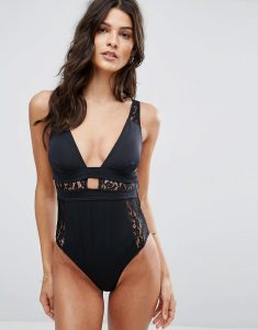 Lace Insert Plunge Swimsuit - Black