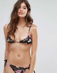 Lace Insert Vintage Floral Triangle Bikini Top - Black