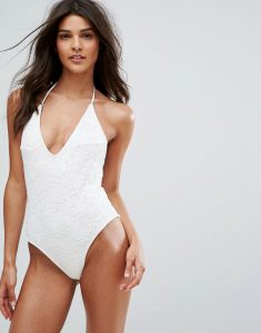 Lace Low Back Swimsuit - White
