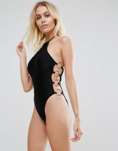 Ring Detail Lace Up Swimsuit - Black