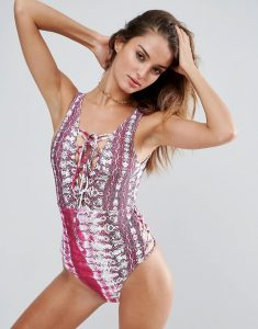 Snake Tie Dye Lace Up Plunge Swimsuit - Multi