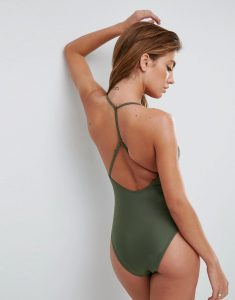 Square Neck Strap Back Swimsuit - Green