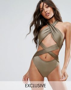 And Co Cross Over Cut Out Swimsuit - Gold