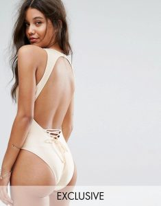 And Co Satin Rib Plunge Lace Back Swimsuit - Gold