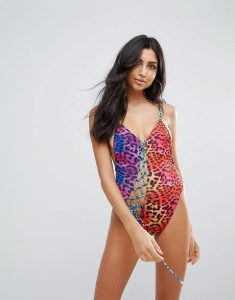 Animal Print Cami Swimsuit with Diagonal Lace Up - Multi
