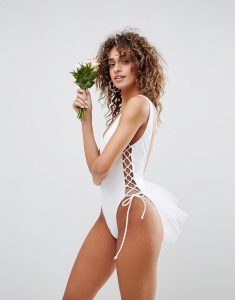 BRIDAL Lace Up Side Tulle Swimsuit - White